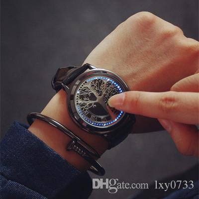watch of blue time leather fashion life tree dp screen com touch led band black watches amazon wrist