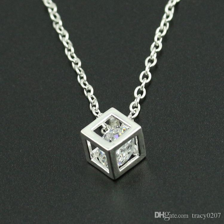 2017 Mode Femmes Stereo Cube Diamant Collier argent bijoux en or collier Alliage pendentif collier Valentin présents