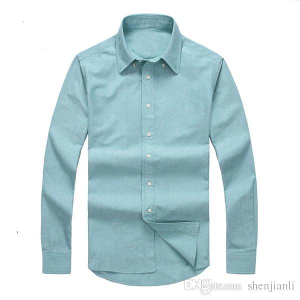 2017 nuovo autunno e inverno camicia da uomo a maniche lunghe in cotone puro casual da uomo POLOshirt moda camicia Oxford marchio sociale abbigliamento lar