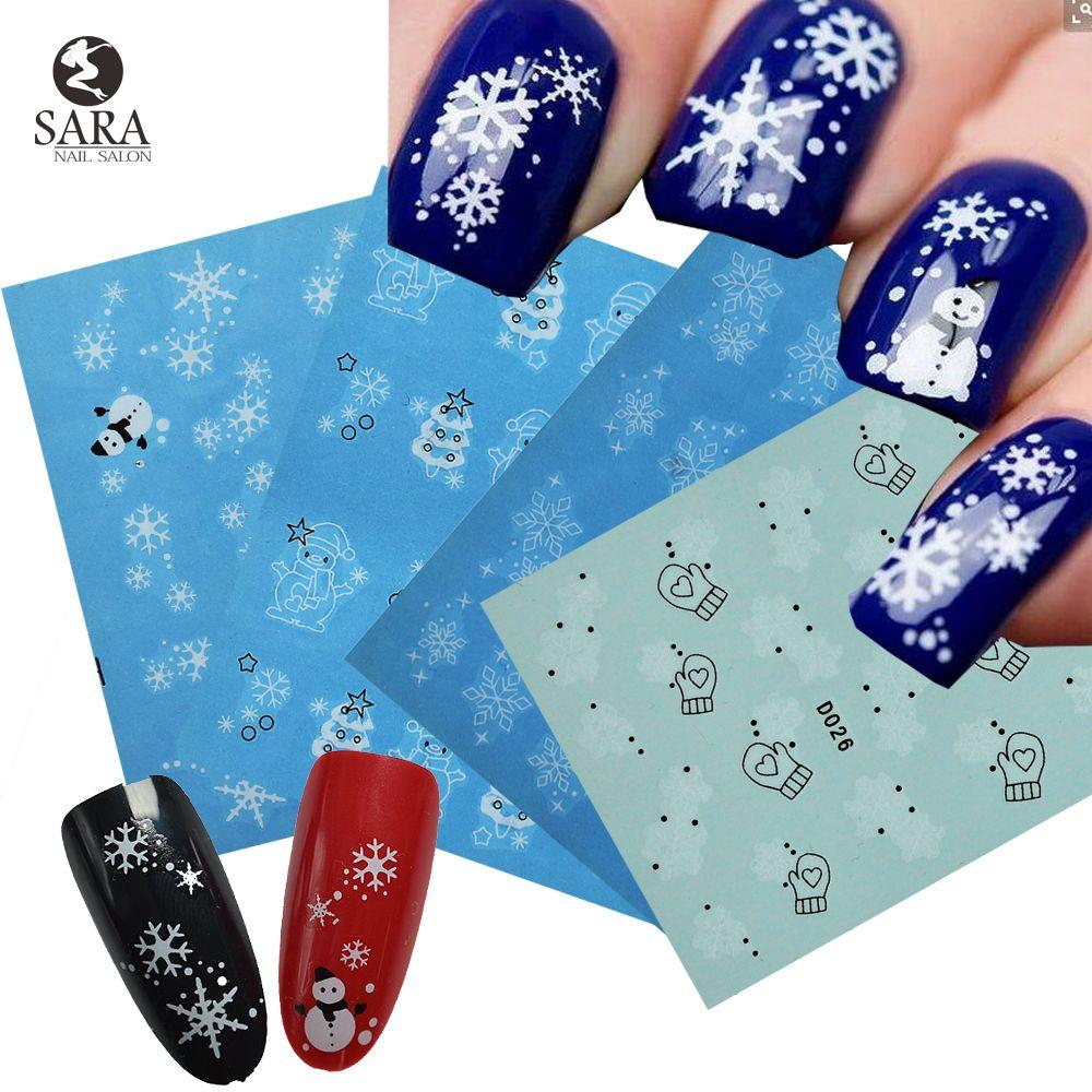 Sara Nail Salon Snowflakes Christmas Style Water Nail Art Sticker