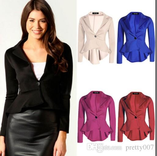 15835dc4dad 2019 Woman Irregular Blazer Jackets Long Sleeve Solid Color Casual Work  Office Slim One Button Short Blazer From Pretty007