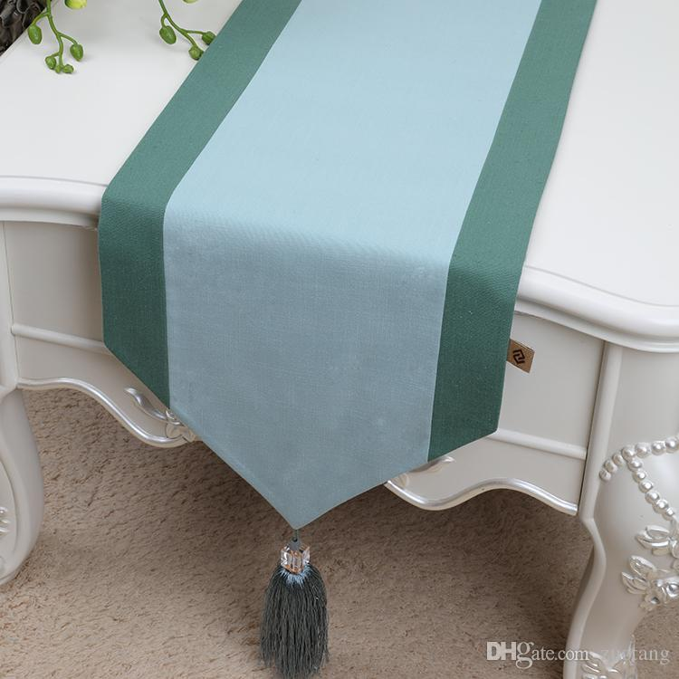 New Extra Long Patchwork Luxury Table Runner Cotton Linen Modern Tassel Tea  Table Cloth Fashion Simple Dining Table Protection Pads 300x33 Tablerunners  Teal ...
