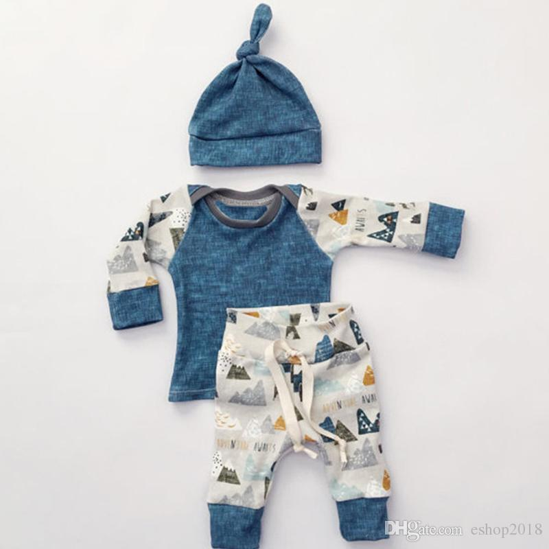 2017 Newborn Clothing Sets Spring Autumn Baby girl boy long sleeve shirt+trousers+hat Casual outfit Size70-100 cute suit