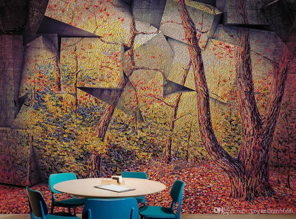 Retro 3D Photo Wallpaper stone Wall forest forest Wall Papers Home Interior Decor Living Room Stereo large backdrop 3D Mural