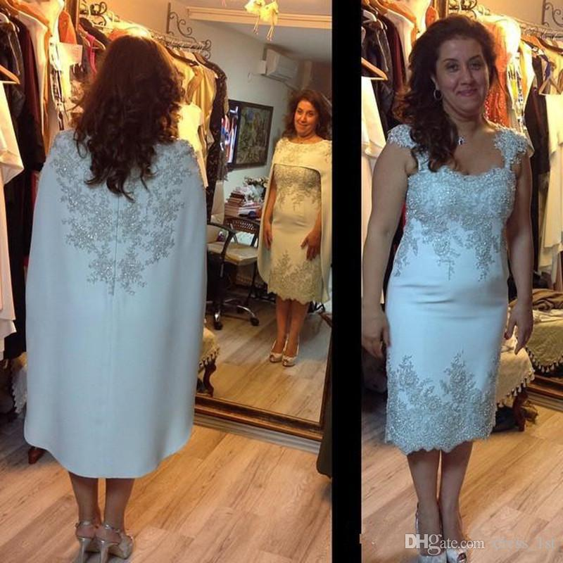 Vintage 2016 Scoop Satin Sheath Tea Length Mother Of The Bride Dresses With Wraps Cheap Lace Applique Beaded Mother Groom Dress EN11179