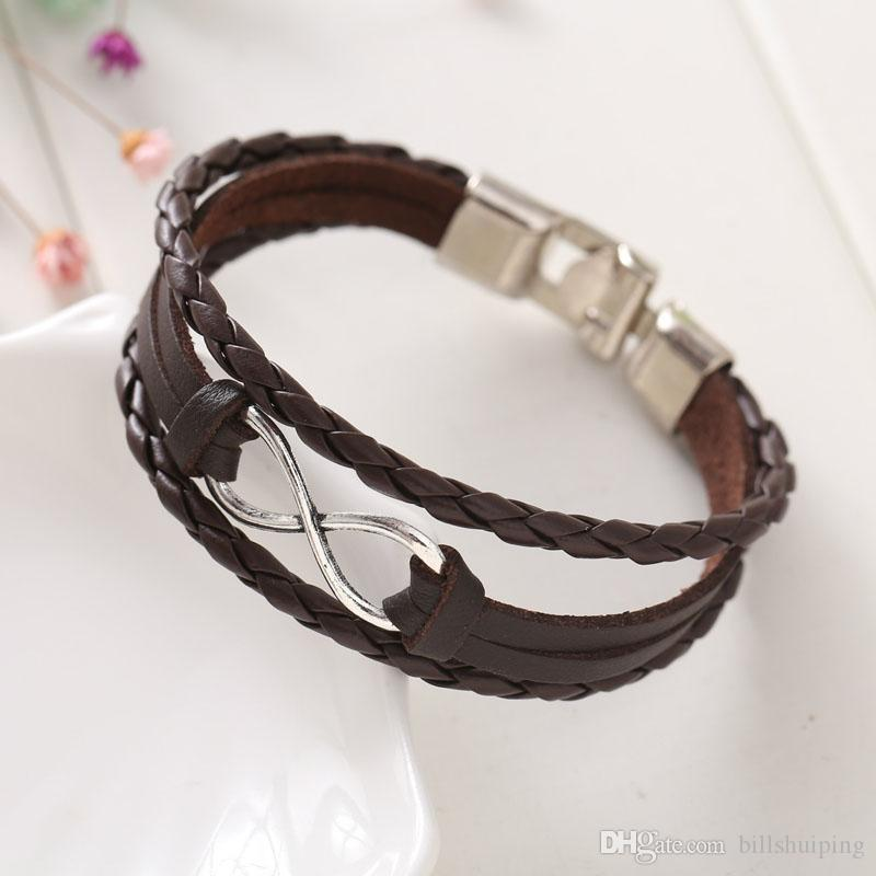 New Fashion Hot Eight cross leather bangle bracelets jewelry for women Charm factory Price