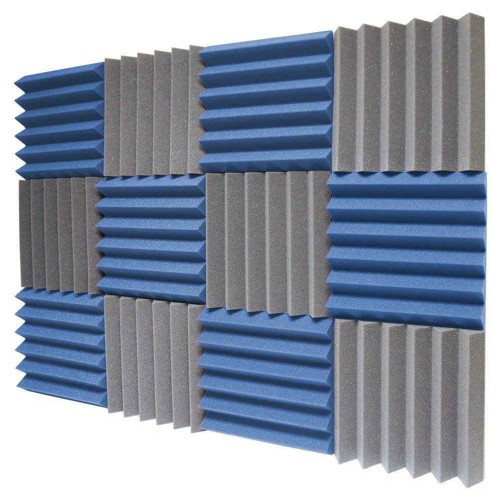 12 Pack - Charcoal/Blue Acoustic Foam Sound Absorption Studio ...