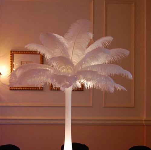 300 pz lotto 20 ~ 25 cm Bianco Piuma di Struzzo Plume Craft Supplies Wedding Party Centrotavola Decorazione Spedizione Gratuita