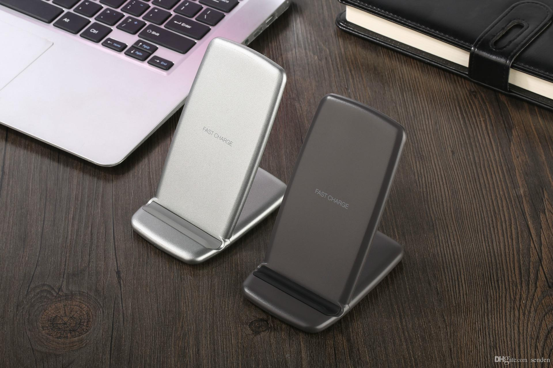 Fast QI Wireless Phone Charger double Coil Fast Charging Stand Qi Wireless Quick Charge Pad Holder For Qi Enabled Cell phone Galaxy S6/S7/S8