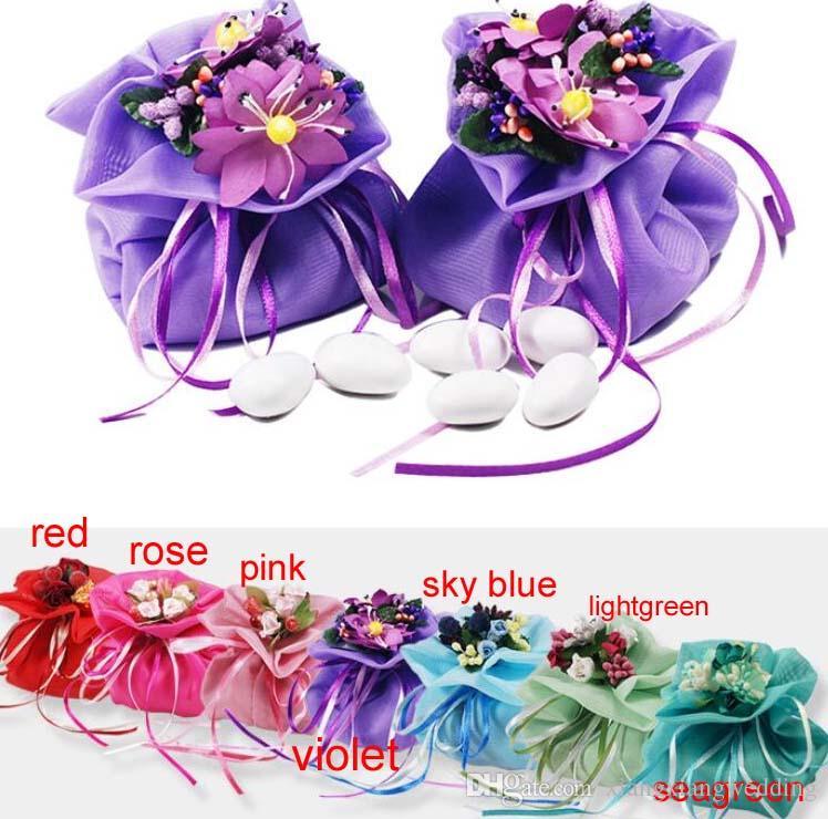 Italien Style De Mariage Faveur Bonbons Cadeau Sacs Fil Poche Avec Bouquets De Fleurs Pour Le Mariage Faveurs Décoration De Table Fournitures