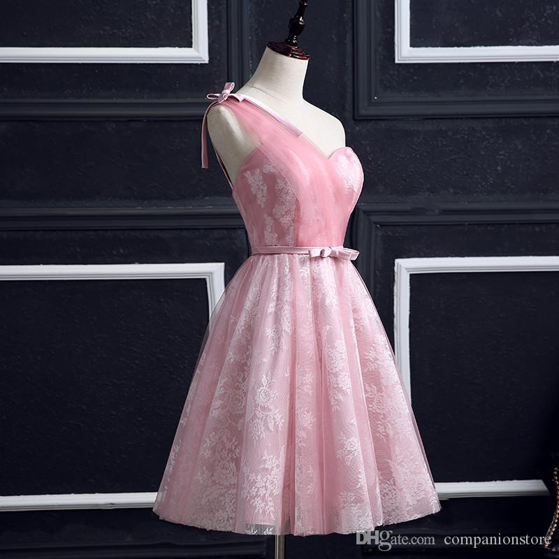 In Stock Really Photo Sleeveless Lovely One-Shoulder Tulle And Lace Robe De Soiree Vestido De Noiva Pink African Prom Dress
