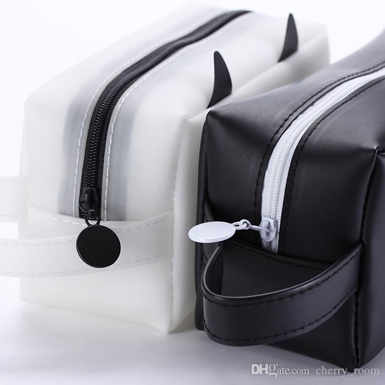 حار 2017 الكرتون الشوكولاته kawaii هلام القط سيليكون نقطة تخزين منظم حقيبة حقيبة رصاص القضية حقيبة جميلة القرطاسية اللوازم المكتبية a7114