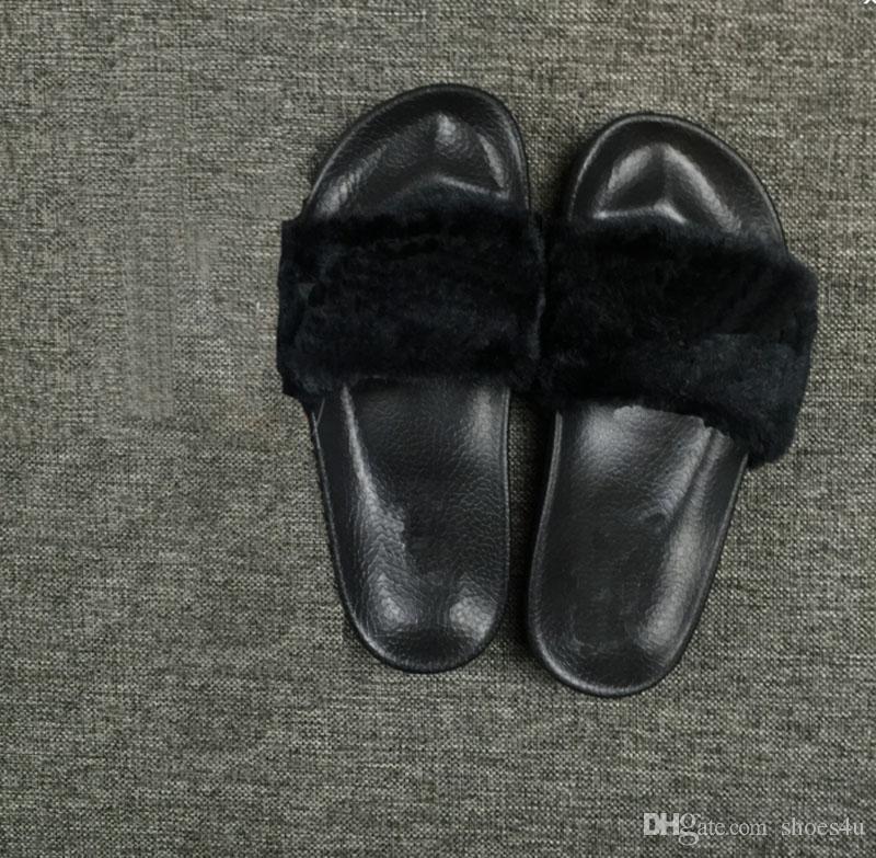 Nueva marca de 2016 Rihanna Fenty Leadcat Slides de piel: rosa, negro, blanco, rojo, gris Slide Sandalias interiores Zapatillas para mujer al por menor Envío gratuito