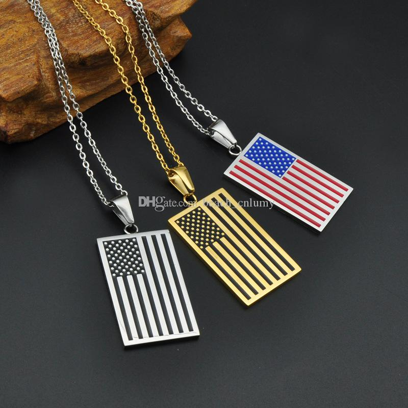 plated for silver chunky gift pendant yellow hot wholesale women necklace product flag fashion necklaces gold friends american men