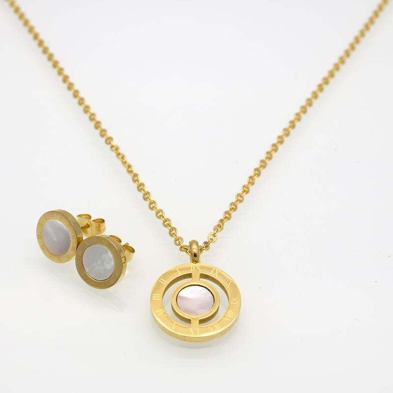 Fashion Famous Brand Jewelry Women Roman Letter Gold Color Natural Pearl Shell Wedding Jewelry Sets With Necklace+Earrings