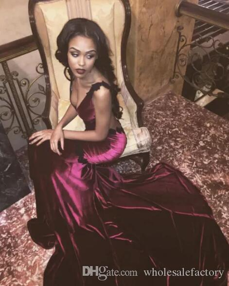 Sexy Open Back Burgundy Wine Red Prom Dresses Sexy 2017 Mermaid V Neck Velvet Satin Long Train Party Evening Gowns Cheap
