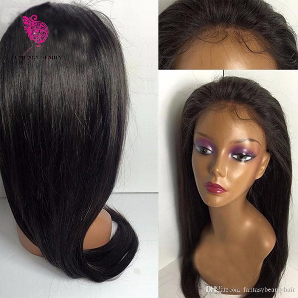 Parrucche piene brasiliane dei capelli umani del pizzo della parrucca diritta brasiliana 130 nodi candeggiati preincollati di densità con i capelli del bambino le donne nere