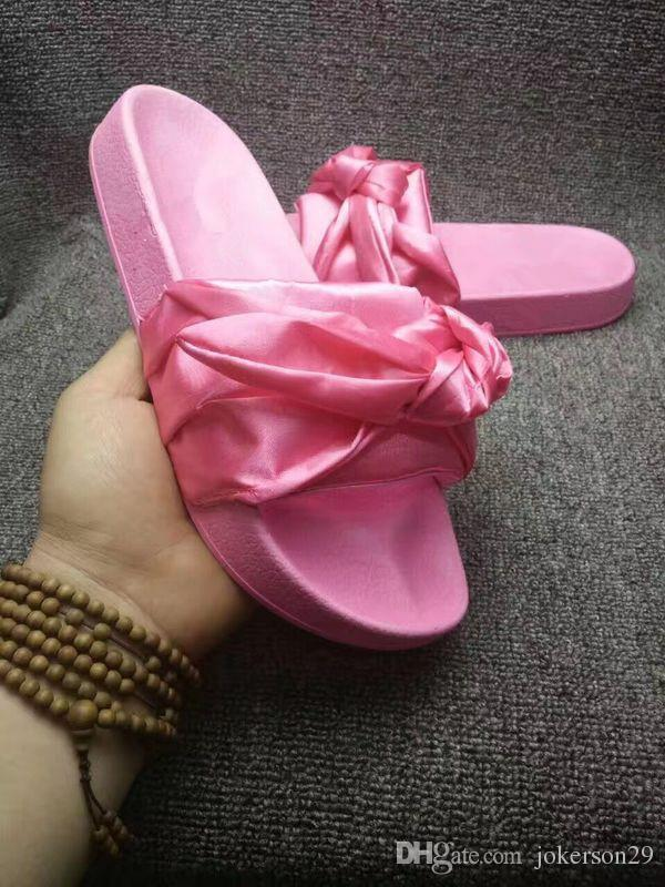 f735581617f8 2017 New Womens Satin Fenty Bandana Slide Slippers Designer Ladies ...