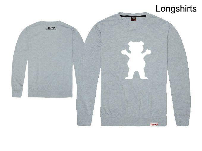 2018 nova chegada hip hop grizzly homens e mulheres de manga longa t-shirt camisola fina o pescoço plus size xxl boa qualidade preço barato por atacado