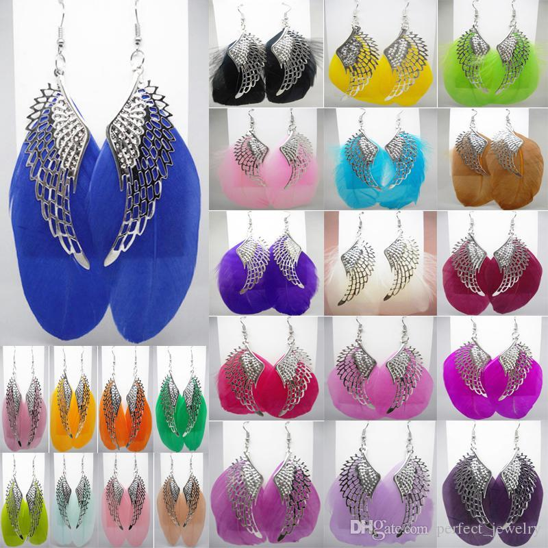 Feather Earrings 24 Colors wholesale lots Cute Angel Wing Charm Light Dangle Eardrop (White Hot Pink Sand Light Blue Lavender Camel)(JF003)