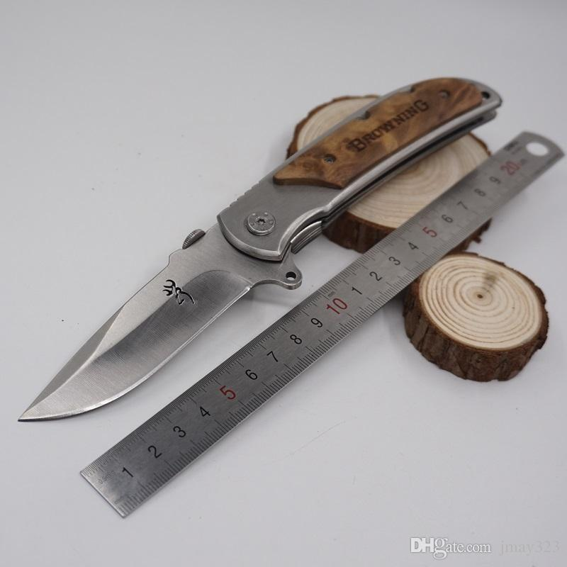 Large Size Brwoning Knives 338 Pocket Folding Knife Outdoor Wood Handle Quick-opening Tactical Survival Knife Combat EDC Tool Gife Knife