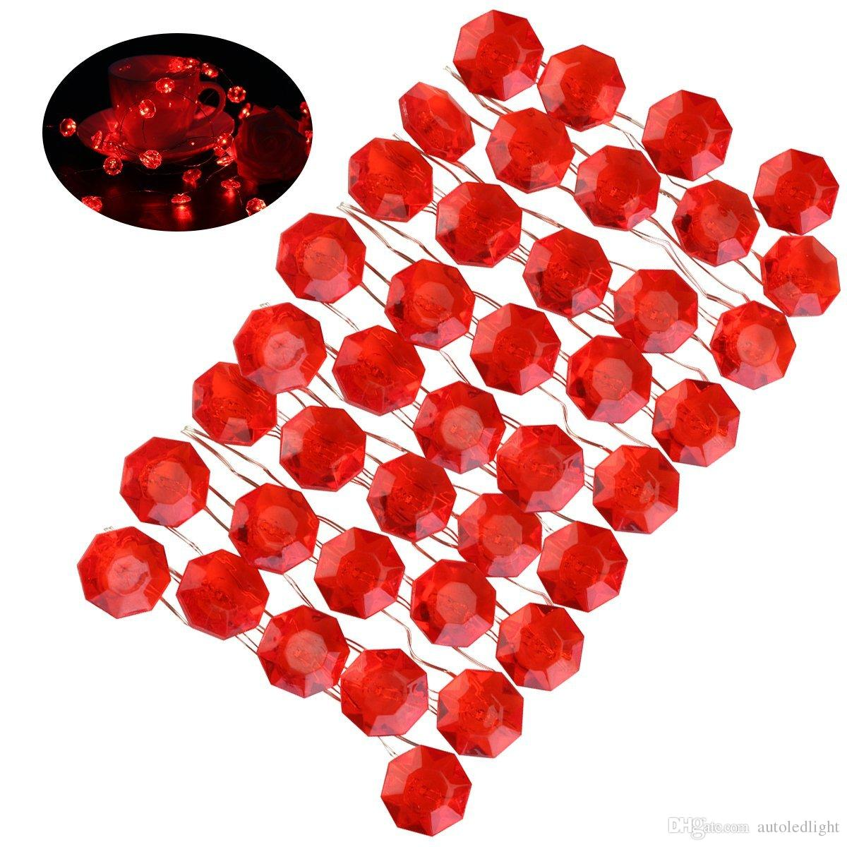 Valentine String Lights Red Diamond Copper Wire Lights - 10 Ft. Long, 40 Lights, 7 Light Modes