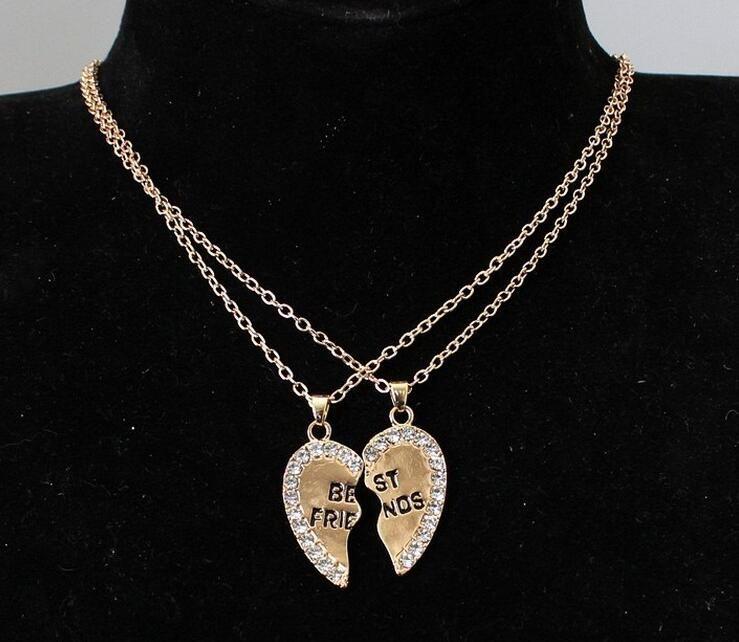 2017 Hot sale High-grade Heart pendant in English alloy sautoir Fashion two good friends necklace set auger best friends necklace