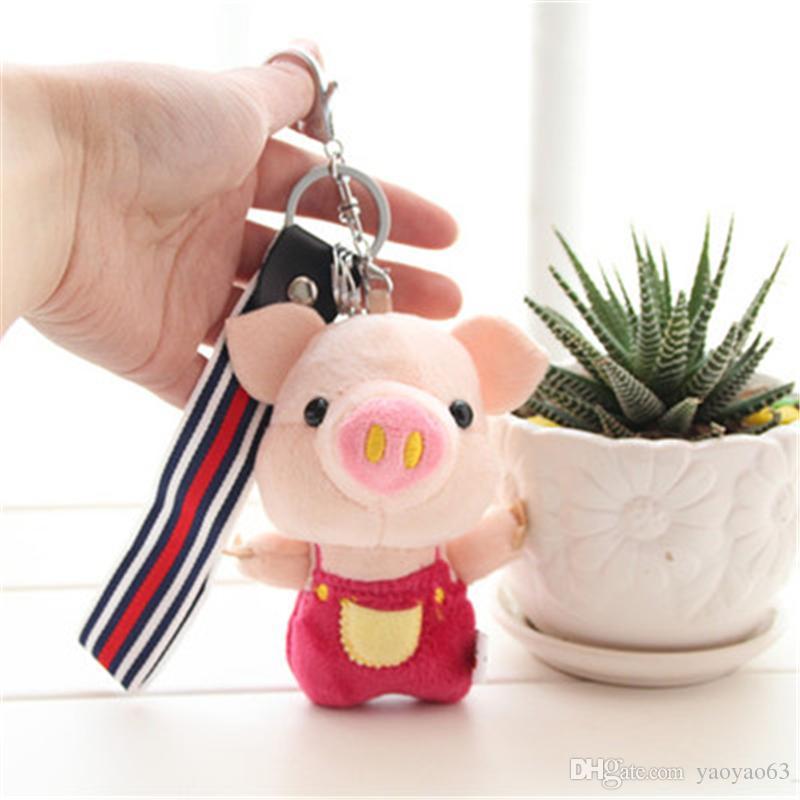 Karikatür piggy pigtail domuz el tuşları küçük kolye araba anahtarlık çanta küçük süsler çift anahtarlık