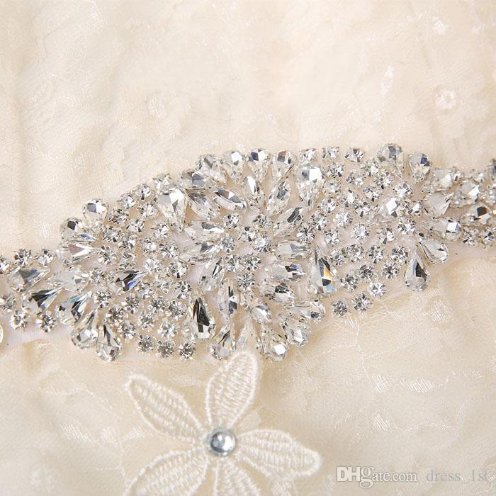 2018 Atemberaubende Strass Bridal Schärpe Hochzeitsgürtel echtes Bild billig weiß Elfenbein Satin Hochzeitskleid Gürtel Custom Made EN12152