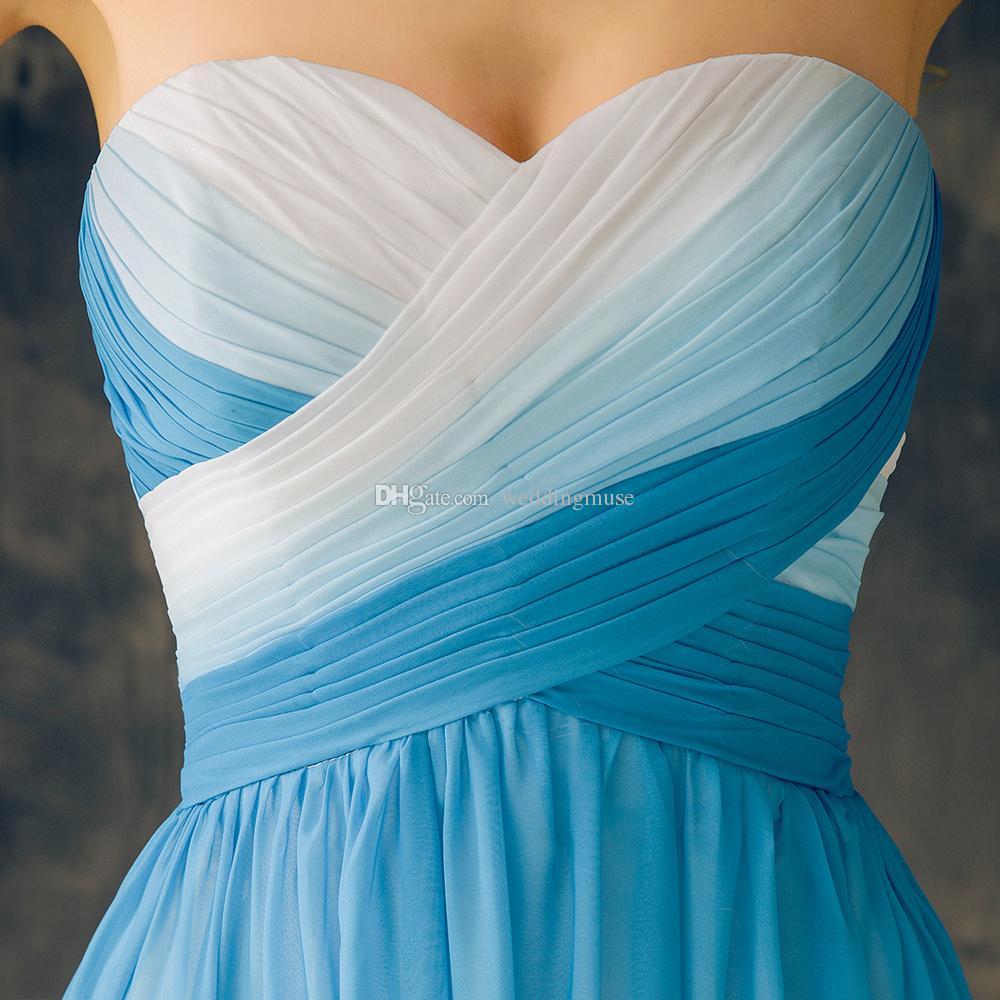Günstige Land Brautjungfernkleider Lange Blaue Farbverlauf Chiffon Rüschen Falten Lace up Schatz Plus Size Trauzeugin Kleider EV137
