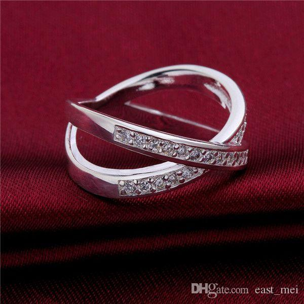 hot sale Inlay stone X plated sterling silver finger ring fit women,wedding white gemstone 925 silver plate rings Solitaire Ring ER487