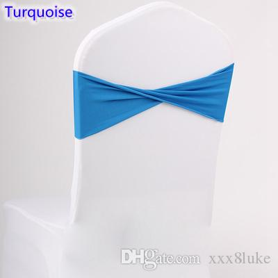 Turquoise colour spandex sashes lycra sash for chair cover spandex bands bow tie For Wedding Decoration banquet design for sale