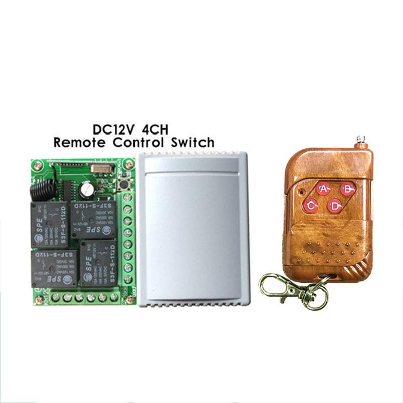 Wholesale- DC12V 10A 4 channel rf wireless remote control switch 433mhz Relay Module Learning Code DC 12V Switch With Remote Control