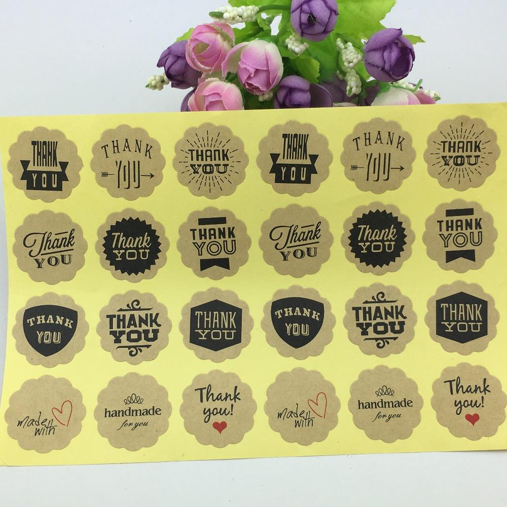 2019 wholesale stickers handmade style 12 design vintage kraft paper thank you circle seal sticker dia 3cm round paper packaging labels from homegarden