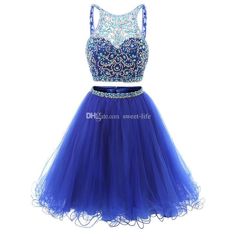 두 조각 동창회 드레스 2020 싼 파란색 등이없는 얇은 명주 그물 레이스 높은 목 여덟 졸업 드레스 짧은 파티 댄스 파티 드레스