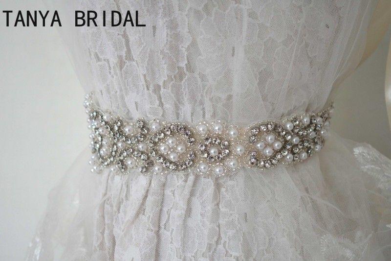Imagen real Perlas con cuentas Fajas de la boda Vestido de novia Lujo Rhinestone Cinta blanca Bodas Cinturones Accesorios 100% hecho a mano XQ2