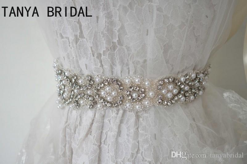 Réel Image Perles Perles Ceintures De Mariage Robe De Mariée Strass De Luxe Blanc Ruban Mariages Ceintures Accessoires 100% fait à la main XQ2