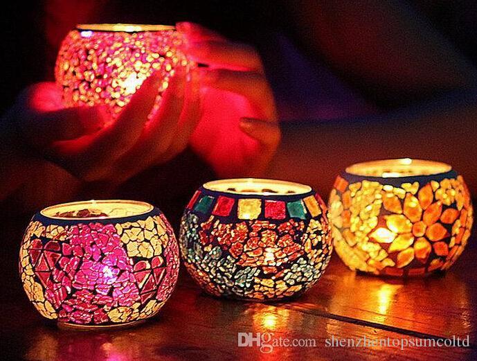 Gratis verzending creatieve mozaïek gesneden glazen kaarshouder bruiloft thuis tafel decoratief met een kaars romantisch diner
