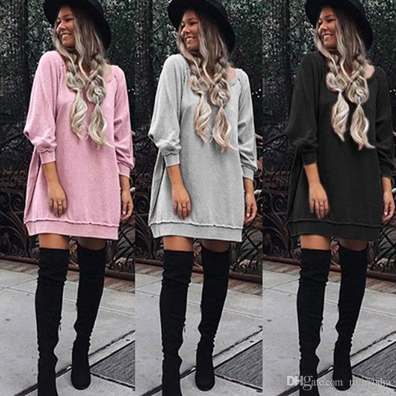 8469a7fec1ac Autumn Fall Pink Gray Black Sweater Dress Women Long Sleeve Loose Sweatshirt  Tunic Dresses Casual Street Long Tops Vestido Sundress On Sale Dresses For  ...