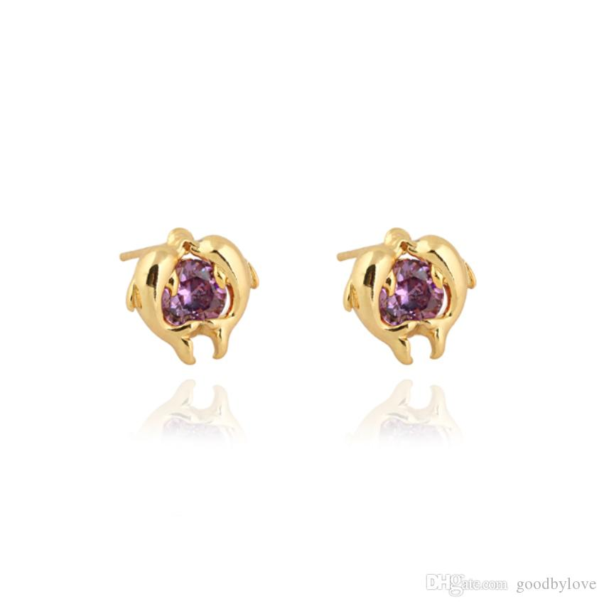 Fashion Animal Jewelry 18K Yellow Gold Plated CZ Cute Mini Double Dolphin Lovers Stud Earrings for Women Girls