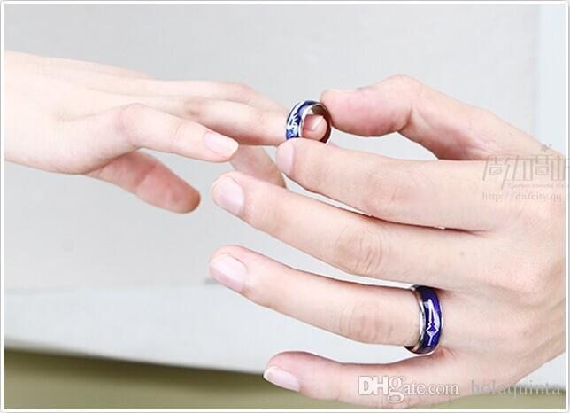 El anillo de humor del tamaño de la mezcla cambia el color a su temperatura revela su emoción interna joyería barata de la moda