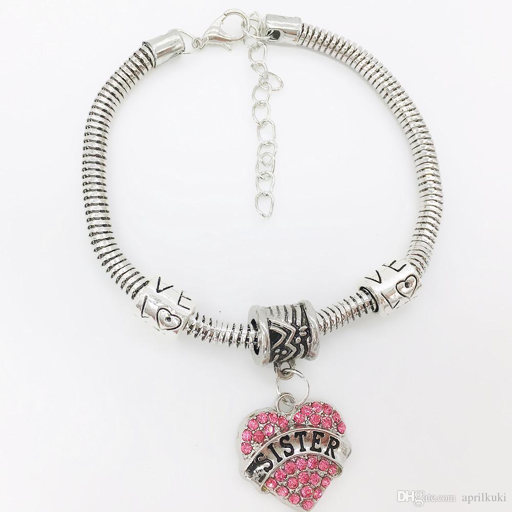 Бесплатная доставка Алмазное сердце любовь браслет Кристалл член семьи Мама Дочь Бабушка Поверь Вера Надежда Лучший Друг браслет для женщин