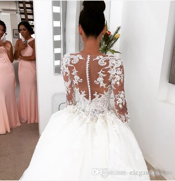 2017 Abiti da sposa in pizzo pieno retrò con tulle staccabile gonna girocollo gioiello collo maniche lunghe perle ricamo ricamo abiti da sposa eleganti