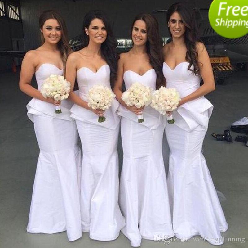 Sexiga billiga långa sjöjungfru brudtärna klänningar till salu älskling öppen baksida kvinnor klänningar för bröllop gäst piga av ära klänningar