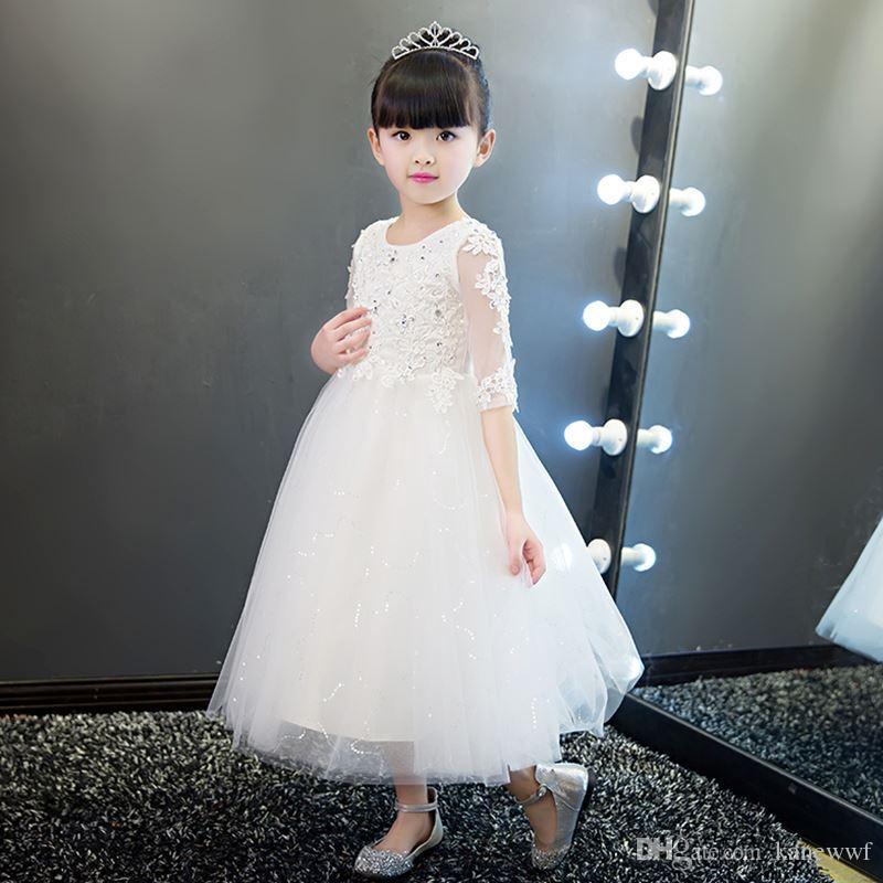 9e08bc765 Compre Elegante Vestido De Novia De Encaje De Flores Blanco Con Lentejuelas  Apliques Fiesta Tul Princesa Vestido De Cumpleaños Media Manga Vestido De  ...