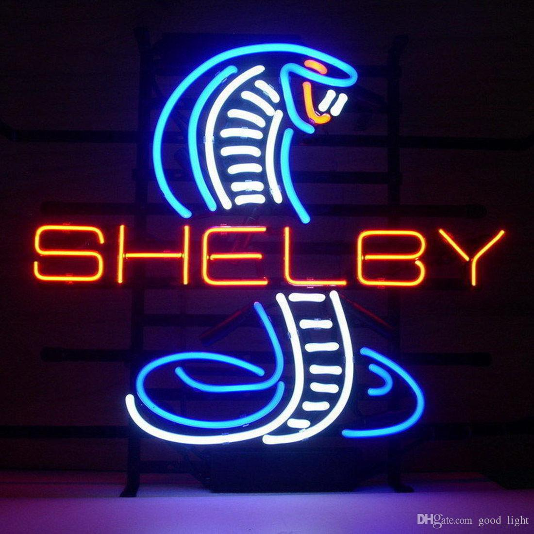 "17""x14"" Shelby Cobra Neon Light Sign Real Glass Beer Bar Store Shop Car Dealer"