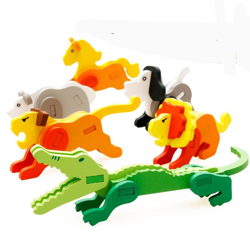 2018 cartoon animals multicolor 3d puzzles building kits wooden funny bricks educational toys for kids toys for children aid teaching from kepiwell7 - Kids Cartoon Animals
