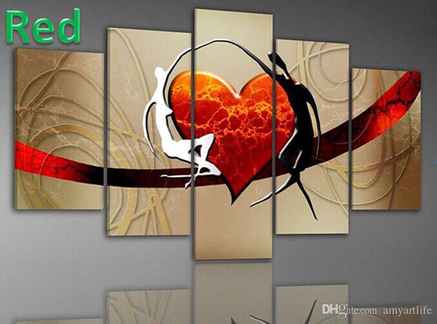 2019 handmade modern design red heart oil painting canvas art lover