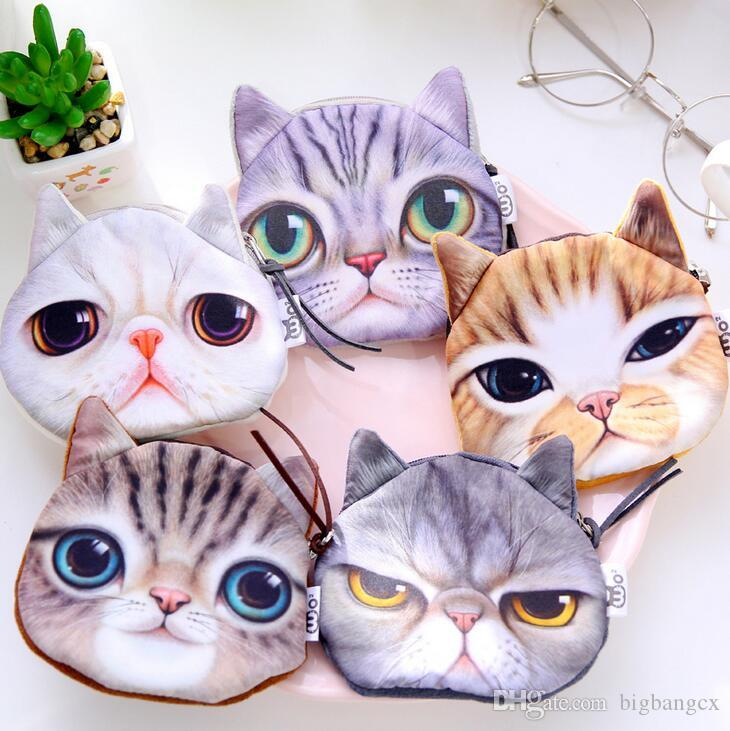 ad24372f2ea Creative Women Mini Stylish Cartoon Cute Cat Face Zipper Case Coin Purse  Makeup Bag Purse Pouch Key Wallet Brand Clutch Clutch Bags Wallets For  Women From ...