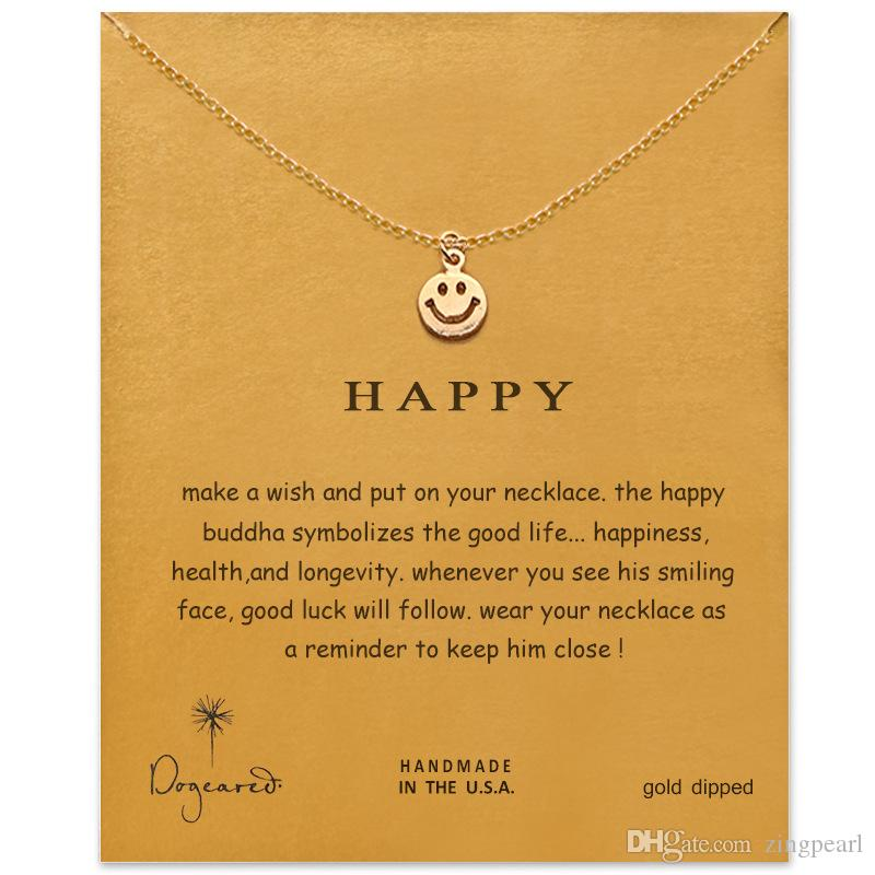 Wholesale Dogeared Choker Necklaces With Card Gold Silver Smile Pendant Necklace For Fashion Women Jewelry HAPPY Gift White Gold Pendant Necklace Small ...